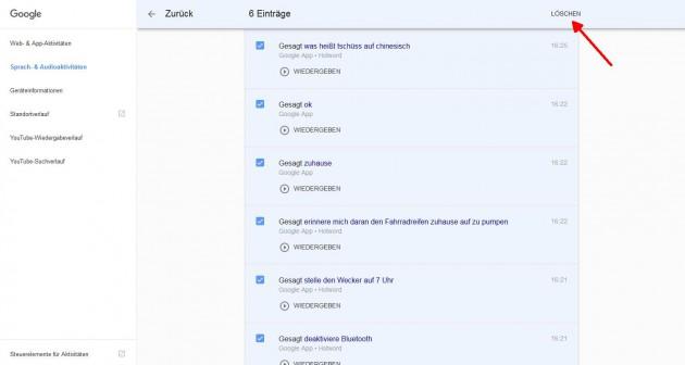 Google Sprachsuche loeschen Sprachsuchen loeschen
