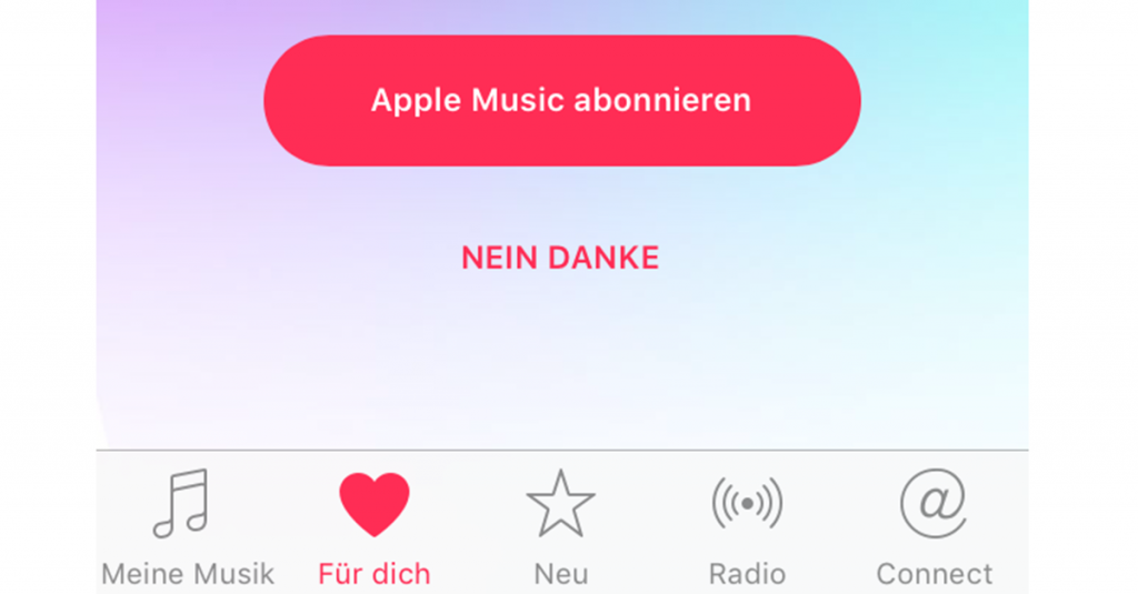 Apple Music in iOS-App Musik deaktivieren