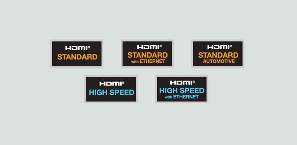 Diese fünf offiziellen Etiketten kennzeichnen HDMI-Kabel.