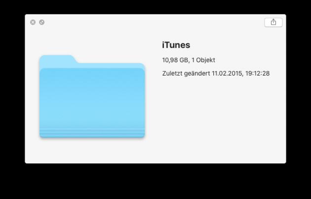 iTunes-Bibliothek verschieben Groesse ermitteln