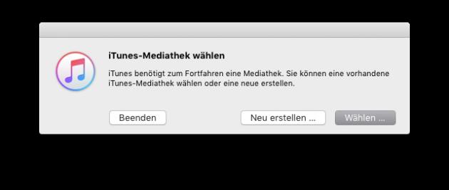 iTunes-Bibliothek verschieben Mediathek waehlen