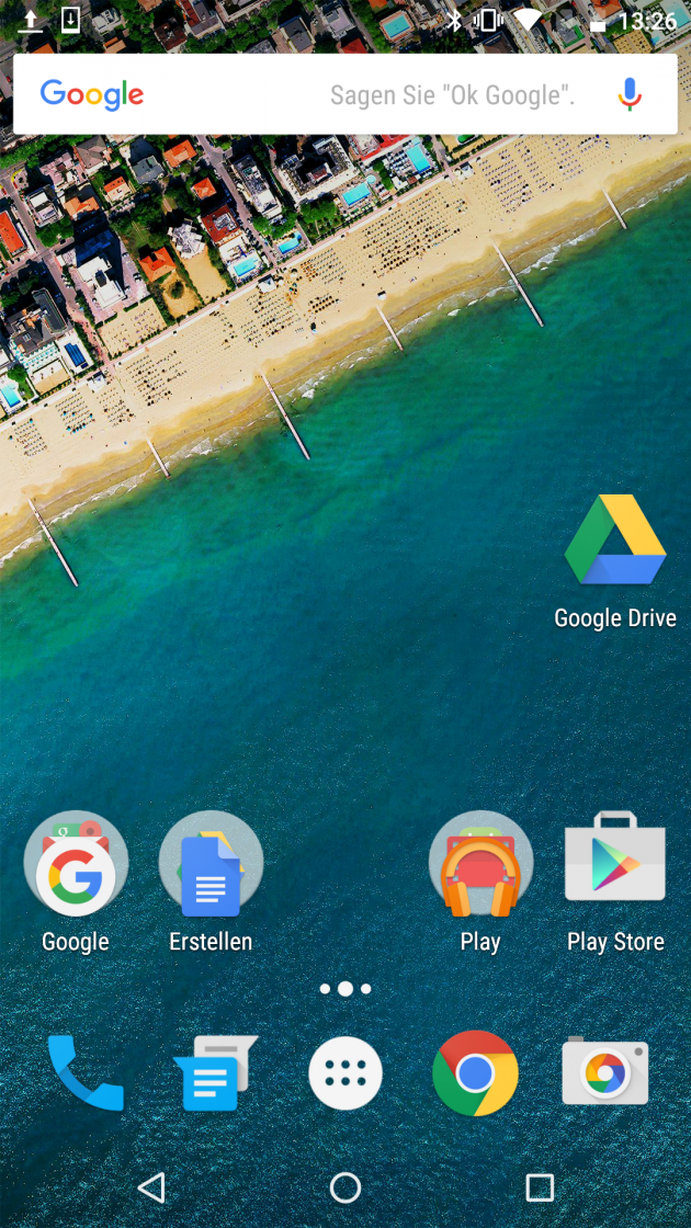 Homescreen unter Android 6 (Nexus 5X)