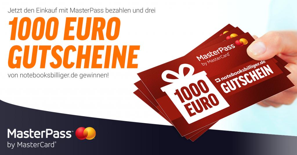 MasterPass Aktion: Gewinne jetzt mit etwas Glück einen 1000€ Gutschein