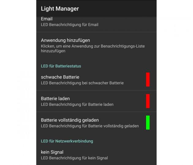 Die RGB-Benachrichtigungsleuchte lässt sich mit zusätzlichen Apps fein einstellen.
