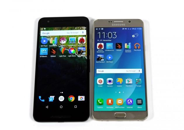 Das Google Nexus 6P ist deutlich hoher als das Samsung Galaxy Note 5.