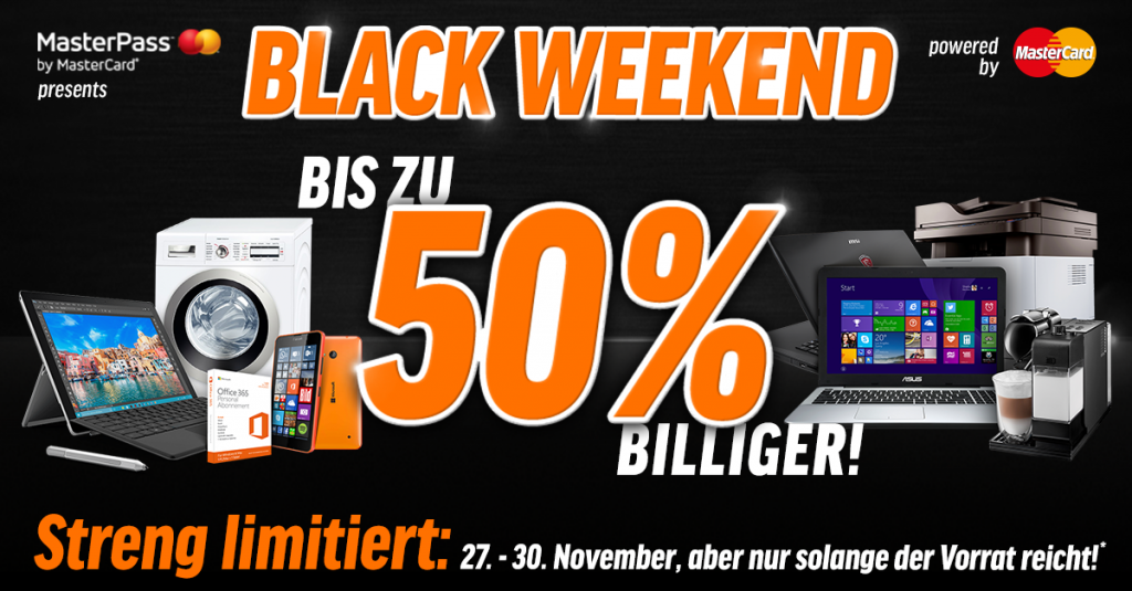 Black Weekend: Bis zu 50% Rabatt auf Notebooks, Tablets, Software uvm.