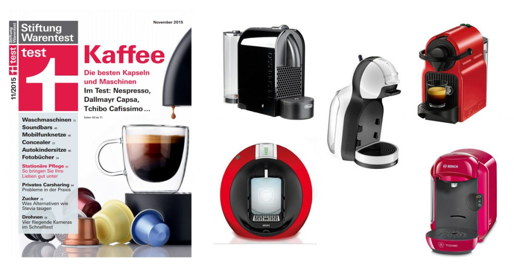 Stiftung Warentest 11/15: Zwölf Kaffee Kapselmaschinen im Test