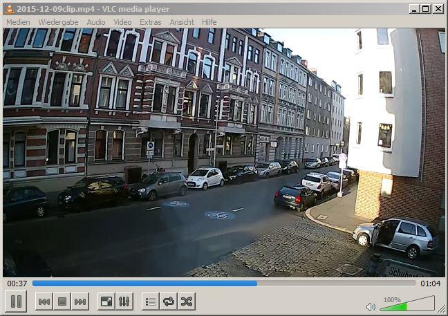 Screenshot eines Überwachungsvideos in nativer Auflösung.