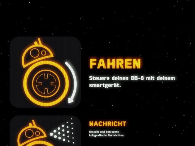 Die App ist übersichtlich, schön gestaltet und lässt Star-Wars-Atmosphäre aufkommen.