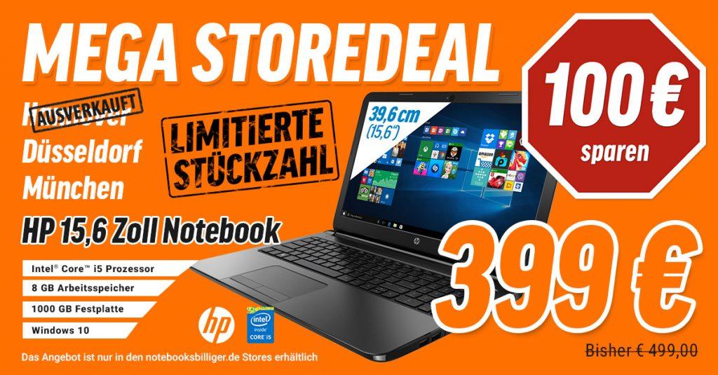 Store-Exklusiv-Deal: HP 250 G4 P5S18ES Business Notebook für 399 € statt 499€