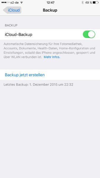 iCloud-Backup aktivieren