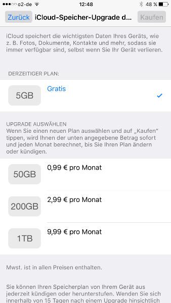 iCloud-Speicher kaufen