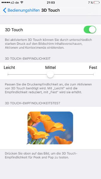 Waage Einstellungen 3D Touch
