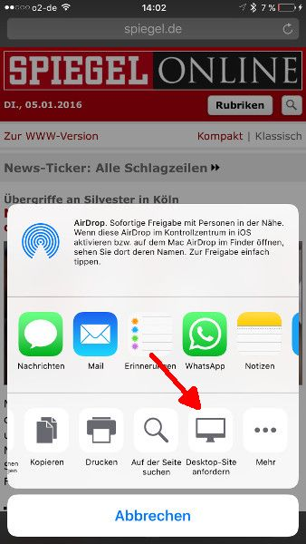 Safari Browser Desktop-Ansicht Bereitstellen