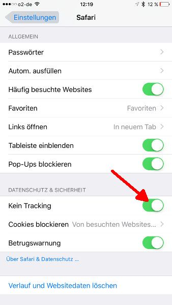 Safari Browser Tracking abschalten