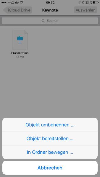 iCloud Drive Datei-Optionen