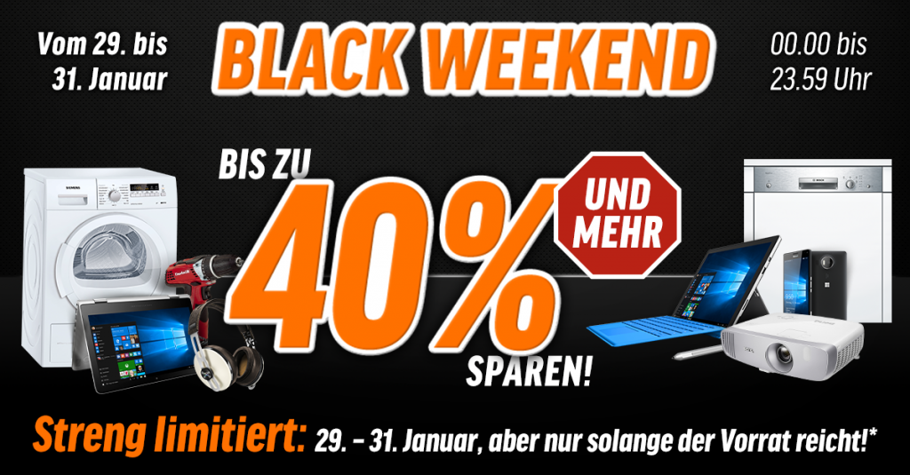 Black Weekend: Vom 29.01.-31.01. könnt Ihr bei uns bis zu 40% sparen