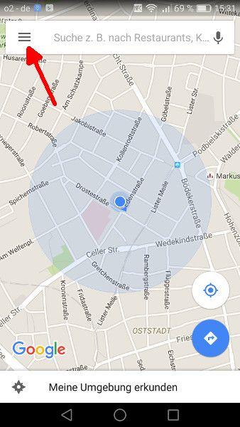 Google Maps offline Schritt 1