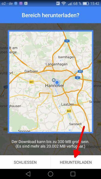 Google Maps offline Schritt 5