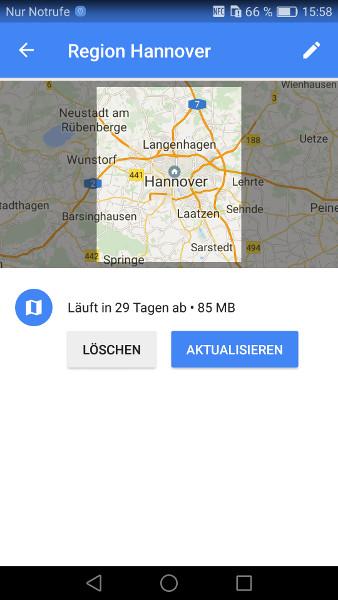 Google Maps offline Schritt 7