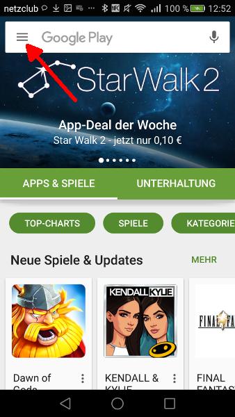 Google Play Automatische Updates abschalten Schritt 1