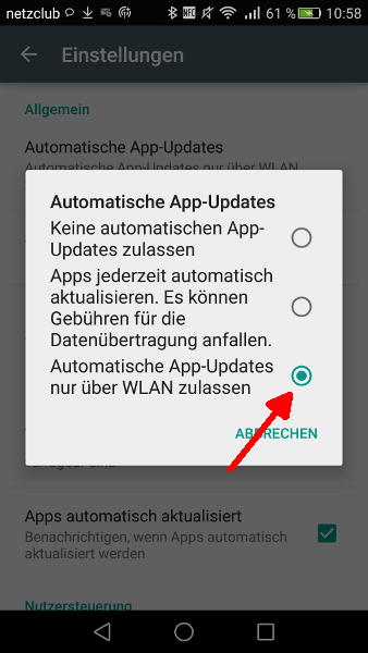 Google Play Automatische Updates abschalten Schritt 4