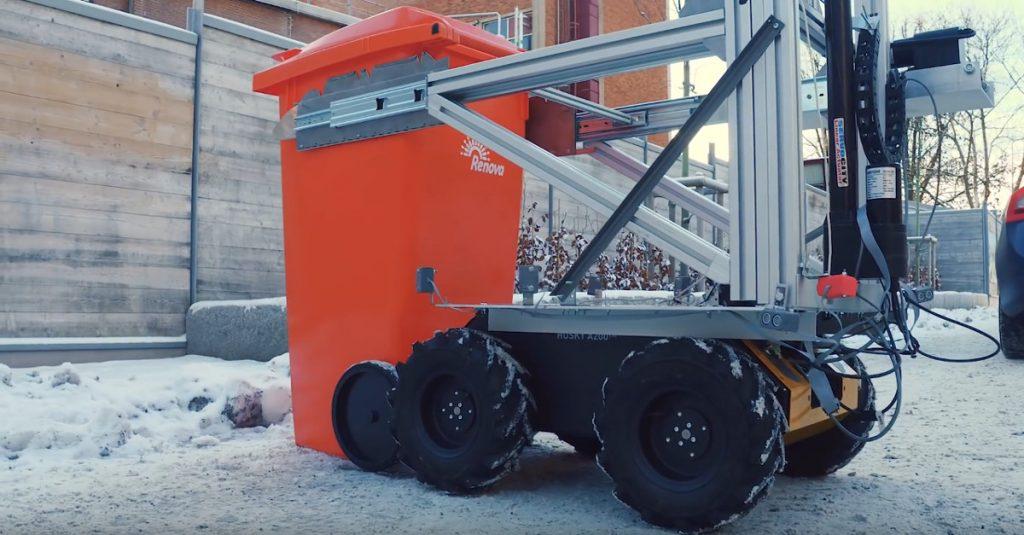Roboter-Müllmann leert Abfalltonnen mit Drohnen-Luftunterstützung