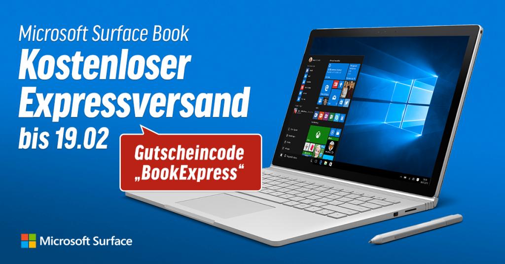 Microsoft Surface Book: Kostenloser Expressversand bis 19.02.!