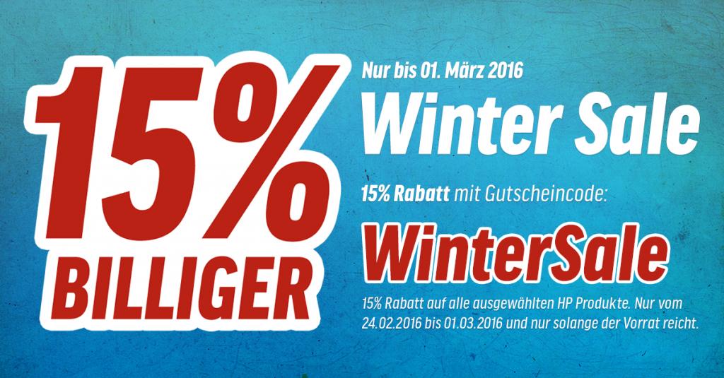 Winter Sale bei notebooksbilliger.de: 15% Rabatt auf ausgewählte HP-Notebooks und PCs