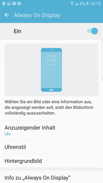 Always-On-Display Samsung Galaxy S7 abschalten