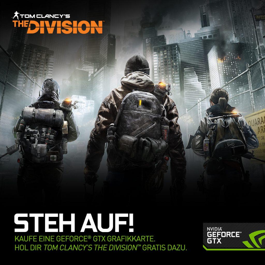 """Nvidia Geforce GTX kaufen und Tom Clancy's """"The Division"""" gratis erhalten"""