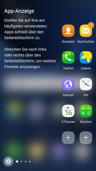 Galaxy S7 Seitenpaneele Apps