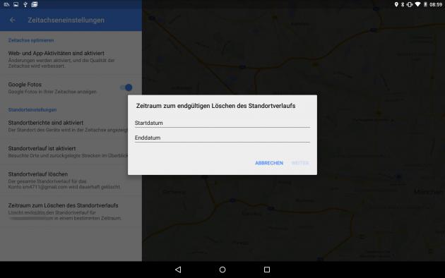 Google-Maps-Zeitraum festlegen