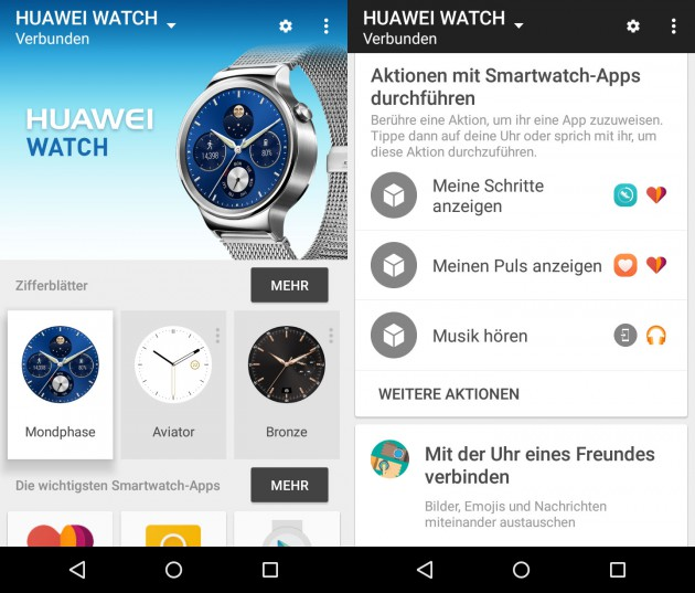 Auf der Huawei Watch läuft Android Wear.