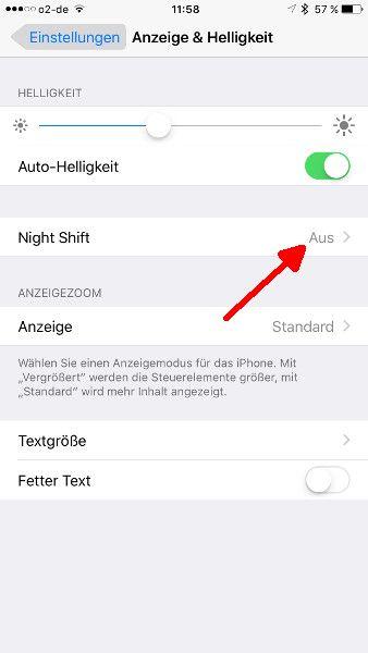 Schritt 6 Night Shift Aufruf