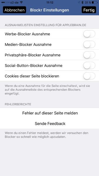 Inhalts-Blocker Ausnahmen fuer Webseite konfigurieren
