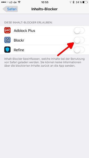 Inhalts-Blocker Einstellungen Extension aktivieren