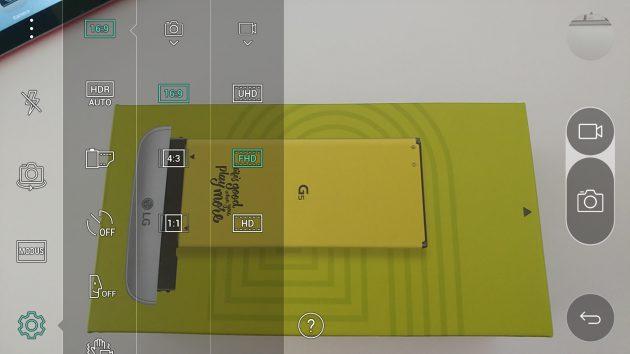 Die Kamera-App des LG G5 bietet viele Einstellungsmöglichkeiten.