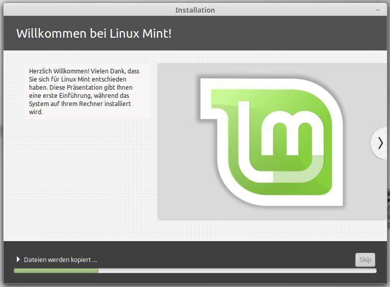 Installation von Mint Linux läuft an