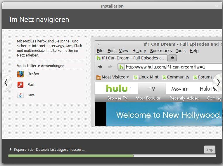 Firefox, Flash und Java wird ebenfalls installiert