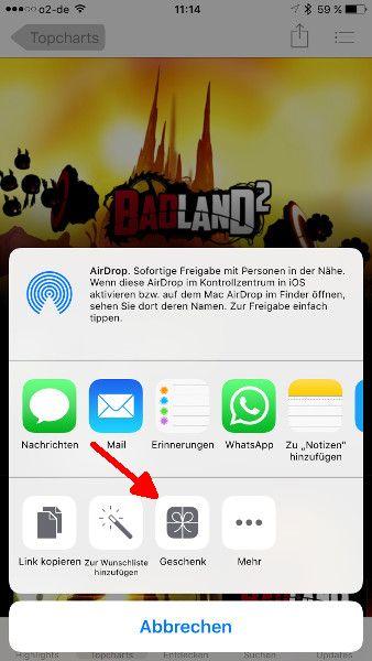 Schritt 4 iOS Apps verschenken Geschenke aufrufen