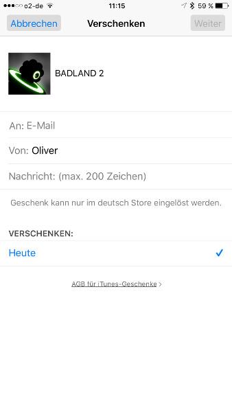 Schritt 5 iOS Apps verschenken Empfaengereinstellungen