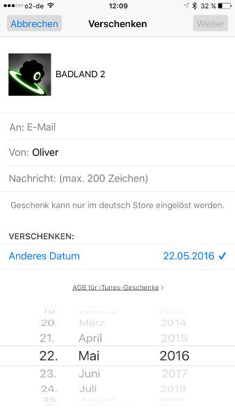 Schritt 5 iOS Apps verschenken Verschenkdatum einstellen