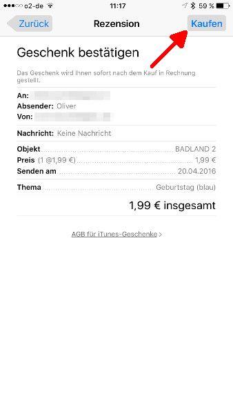 Schritt 7 iOS Apps verschenken Geschenk bestaetigen