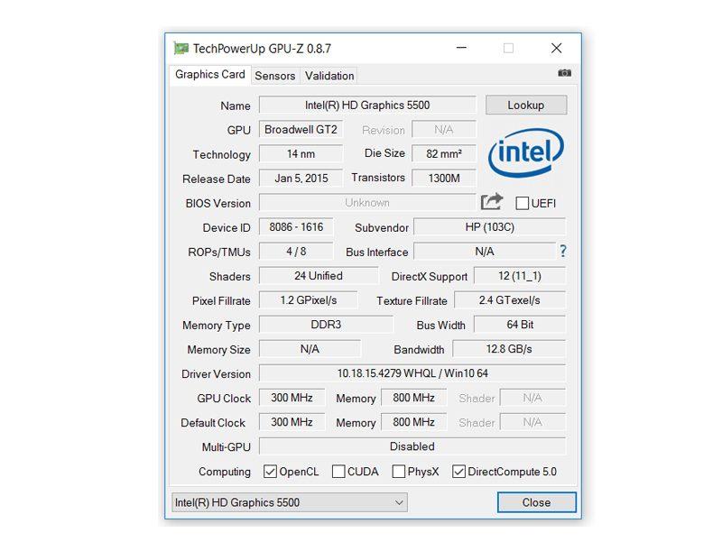 HP 15-ac 158ng – Angaben zum Intel Grafik