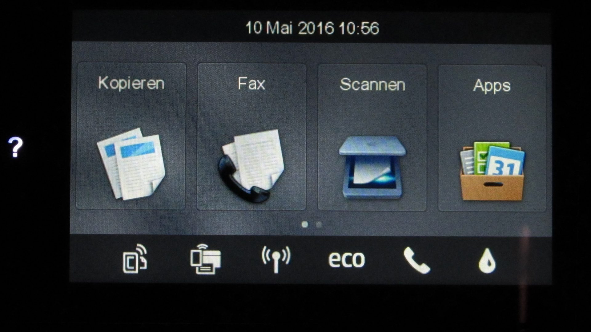 HP-Officejet-Pro-8620–Display-Hauptmenue