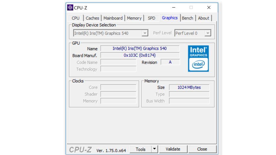 HP Spectre x360 15-ap006ng CPU-Z—Grafik