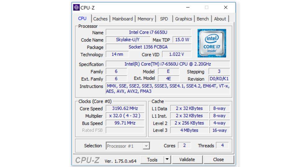HP Spectre x360 15-ap006ng CPU-Z—Prozessor
