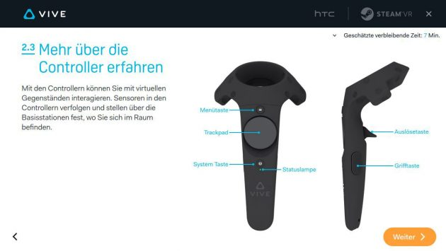 Die Belegung des Controllers für die HTC Vive.