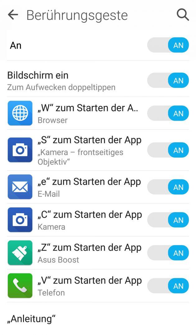 Durch das Zeichnen auf dem ausgeschalteten Bildschirm des Asus ZenFone2 Deluxe lassen sich direkt Apps öffnen.